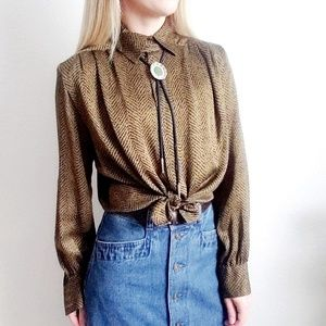 90s Vintage Oval Room Silk Button Up Blouse 419